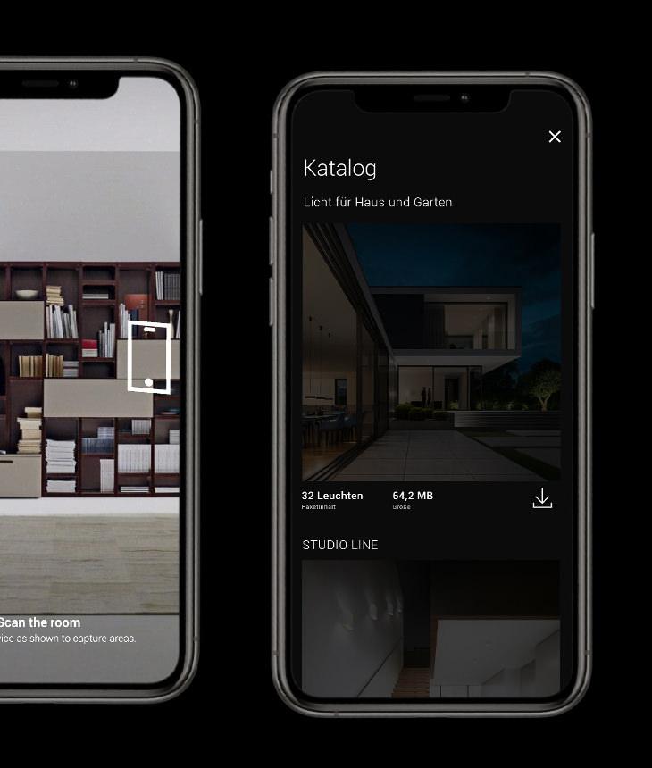 BEGA Gantenbrink-Leuchten AR+ Augmented Reality App iOS iPhones - Tracking & Catalogue View
