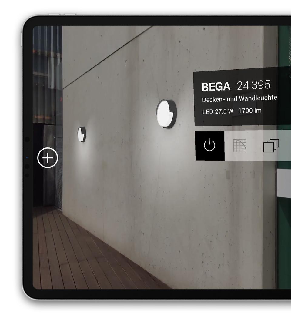 BEGA Gantenbrink-Leuchten AR+ Augmented Reality App iOS iPad Wall luminaires