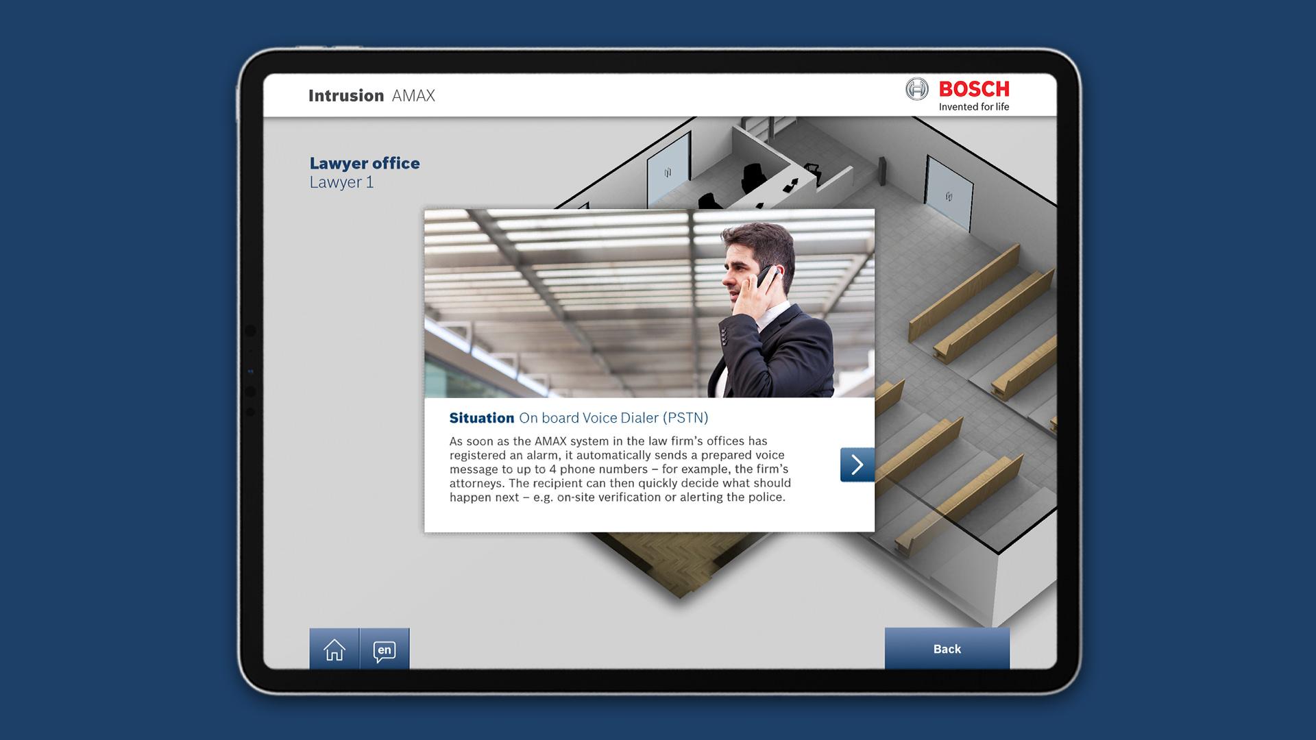 Bosch Sicherheitssysteme GmbH - Intrusion Realtime 3D App iPad - Key Features Modal