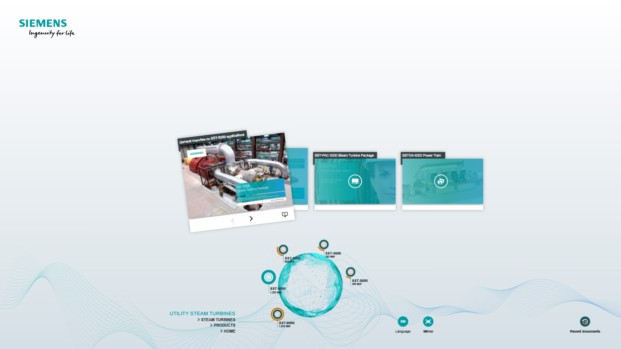 Siemens AG - Visitor Area - Power-Plant Solutions - Interactive Table - Steam-Turbines