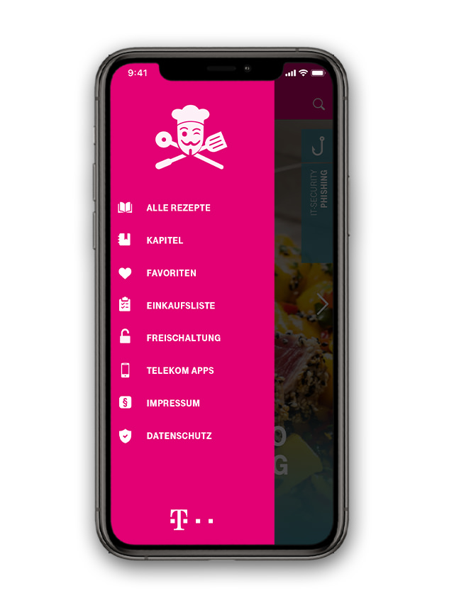 T-Systems Cyber Kitchen Mobile App - Main Menu
