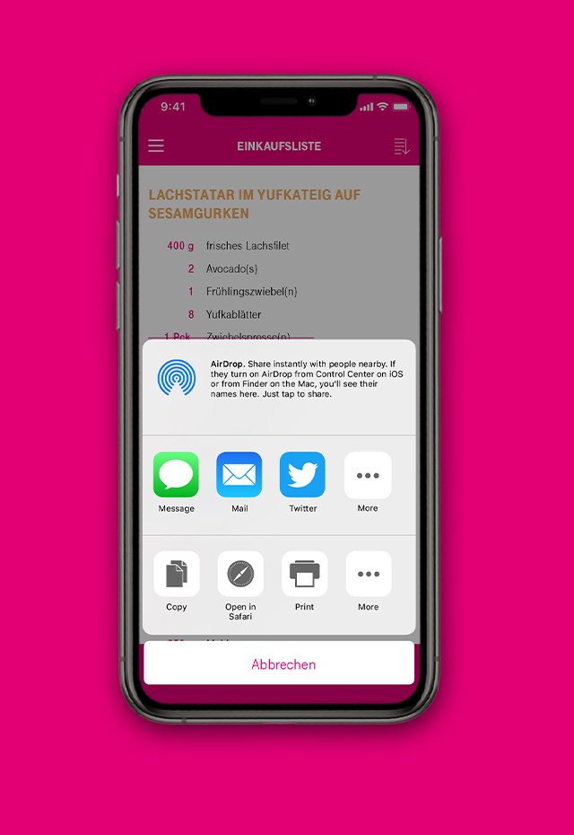 T-Systems Cyber Kitchen Mobile App - Sharing